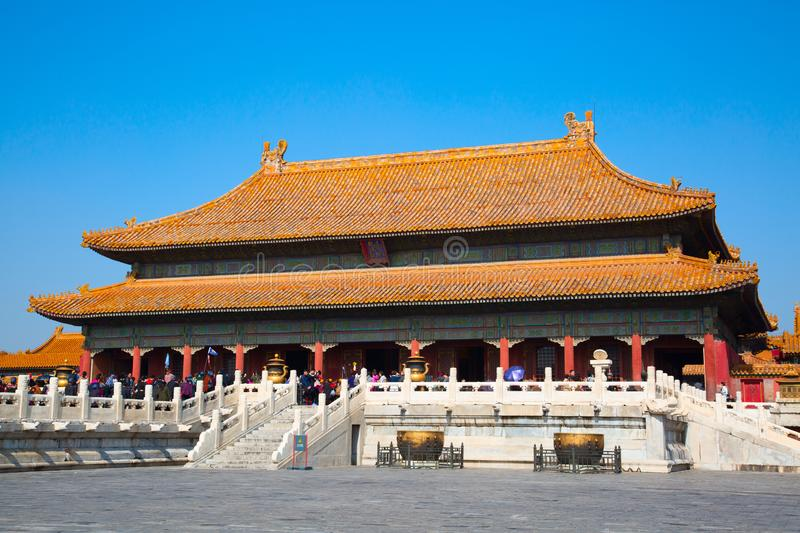 The Forbidden City. BEIJING, CHINA - OCTOBER 14, 2017: The Forbidden City (Palace museum), the Chinese imperial palace from the Ming dynasty to the end of the stock images