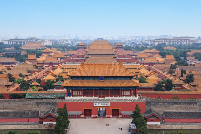 Higher view on Forbidden City in Beijing royalty free stock images