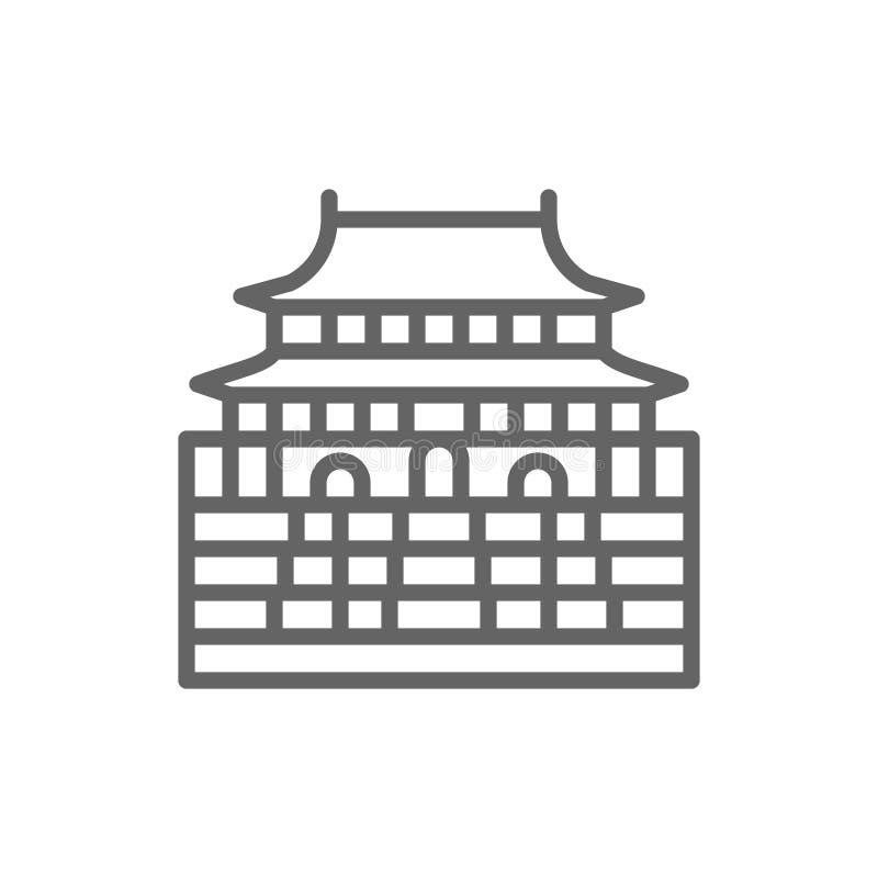 Forbidden City, China, landmark line icon. vector illustration