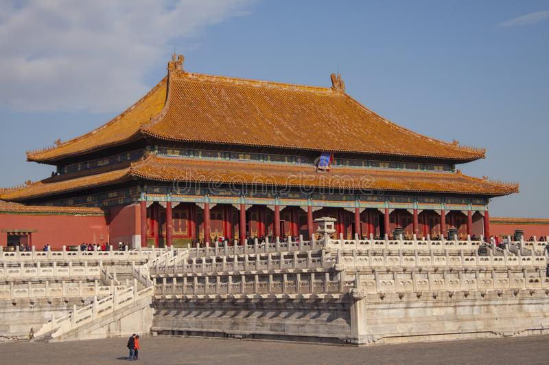 The forbidden city Chinese imperial palace from the Ming Dynasty. View over the Harmony Square with the Hall of Supreme Harmony. In background stock images