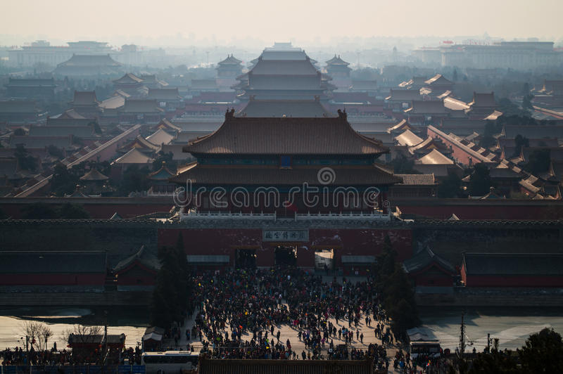 Forbidden City and Crowds during Chines New Year seen from Jingshan Park Temple on a Hill, Beijing, China stock photography