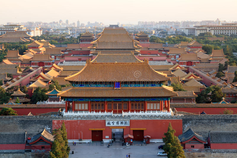 The forbidden city at dusk stock image