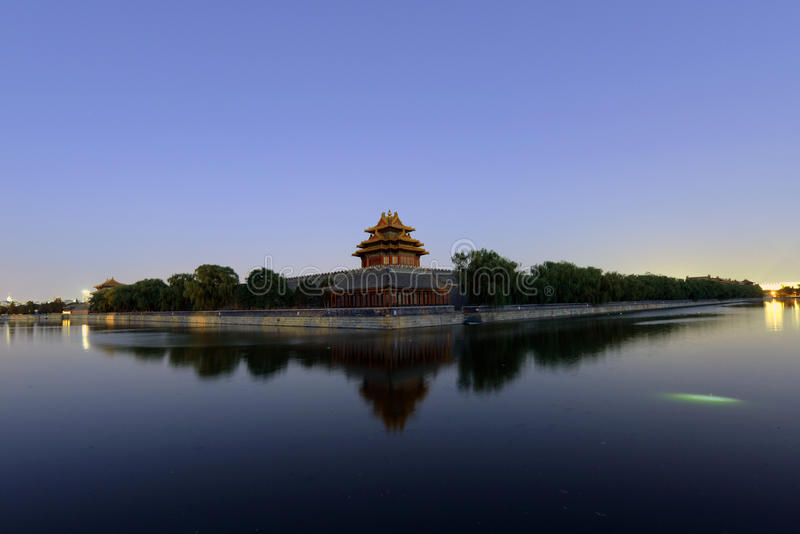 Forbidden city in the dusk royalty free stock photography