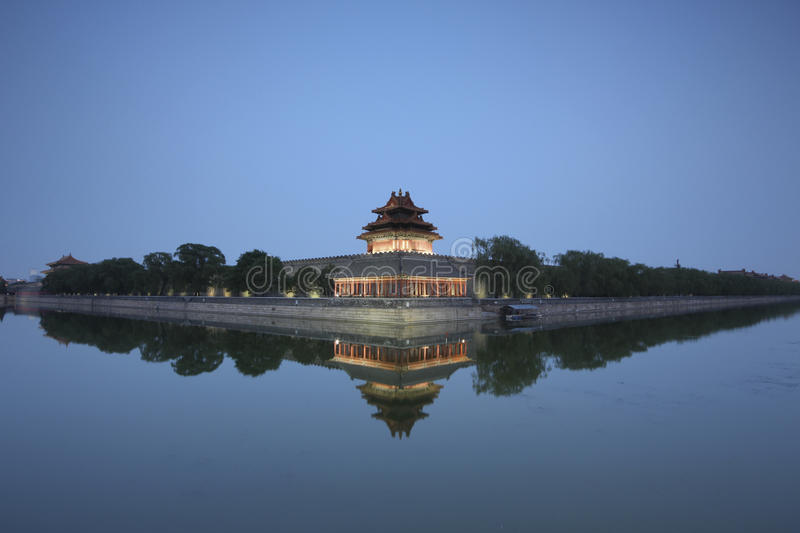 Forbidden City at dusk stock photos