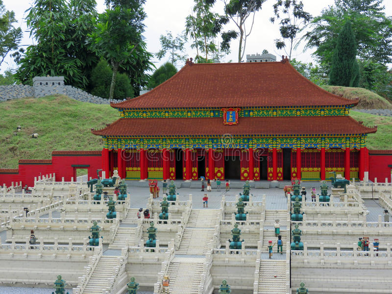 Forbidden City and Great Wall, Legoland Miniland, Malaysia. Forbidden City and Great Wall of China replicas at Legoland Miniland in Johor, Malaysia royalty free stock photography