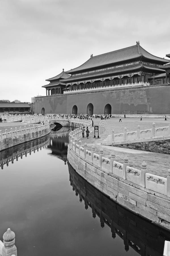 The Forbidden City (Gu Gong) in black and white royalty free stock images