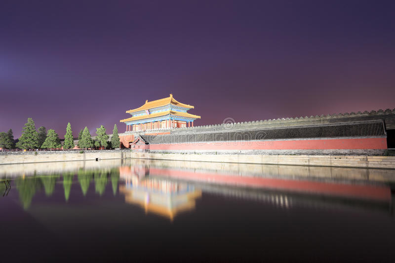 The forbidden city at night royalty free stock images