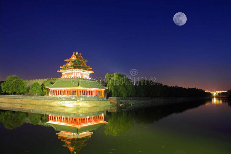 The Forbidden City at night royalty free stock image