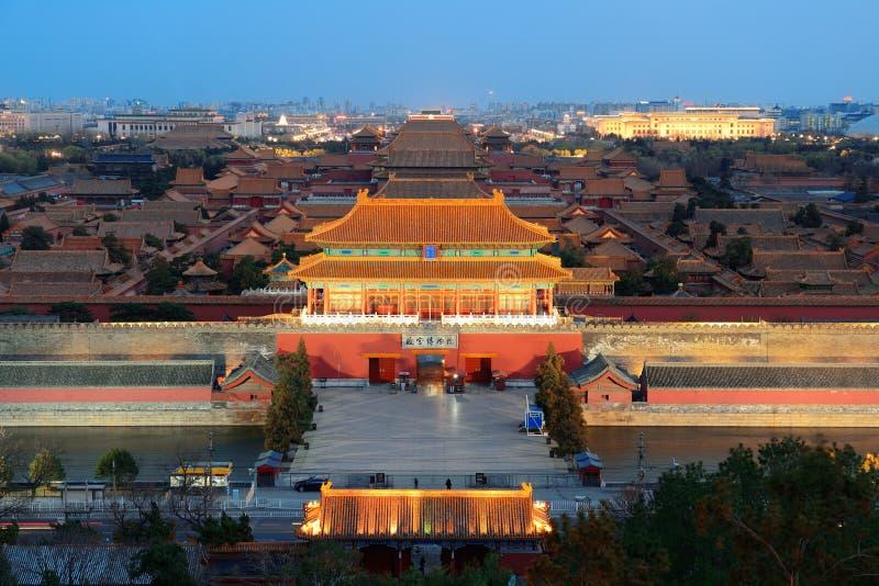 Forbidden City på skymning arkivfoto