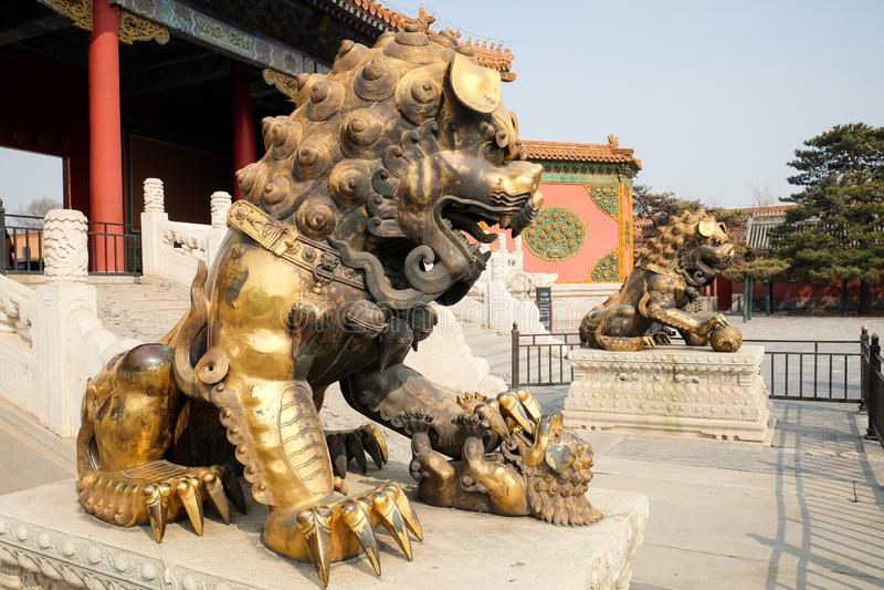 Bronze lions in Forbidden City, Beijing China stock photography