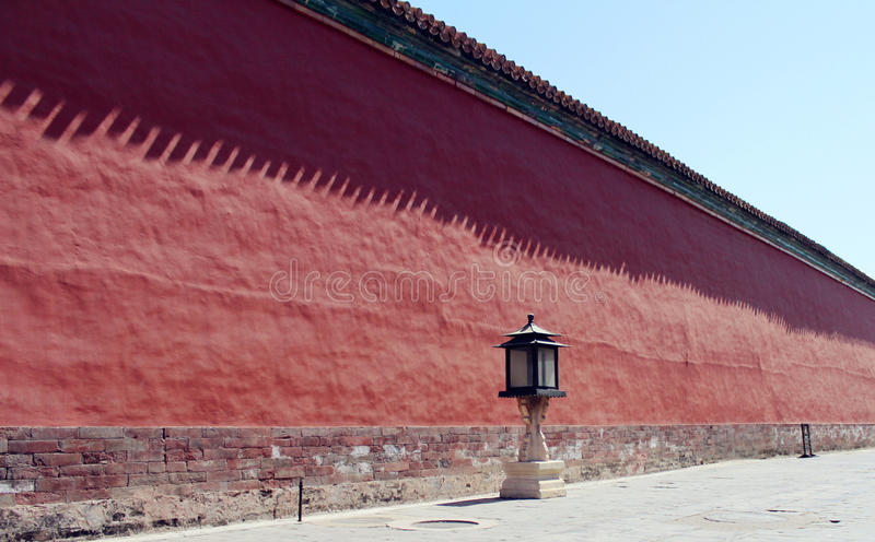 red wall of The Forbidden City stock images