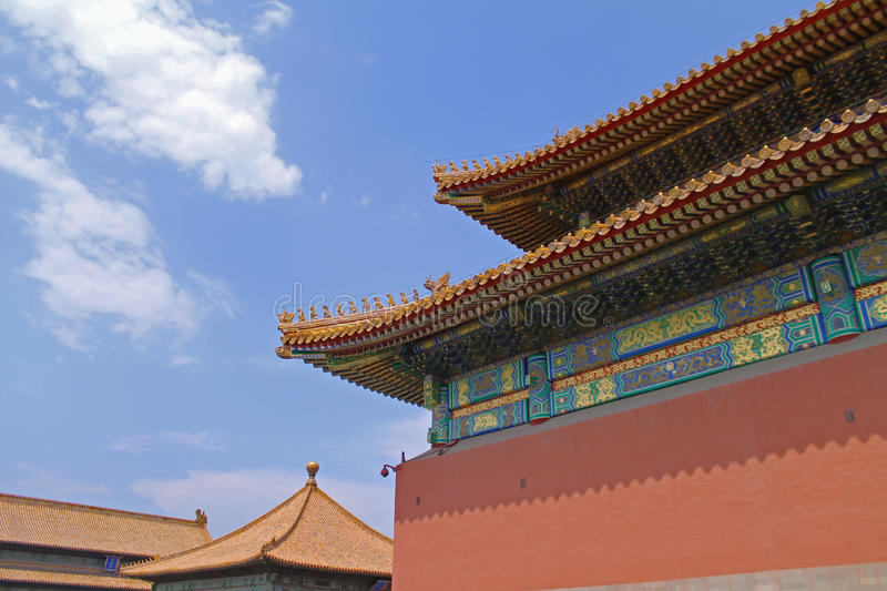 Forbidden city roof chinese blue sky stock photos
