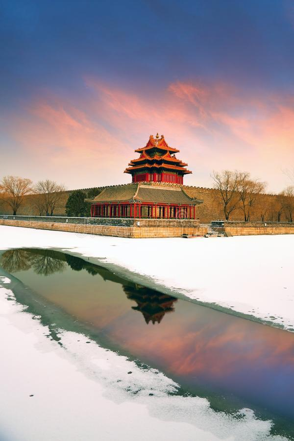 Beijing Forbidden City and snows stock photography