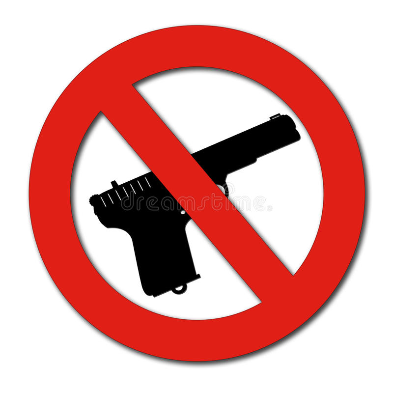 Download No Guns or Weapons sign stock illustration. Image of licence - 30114426
