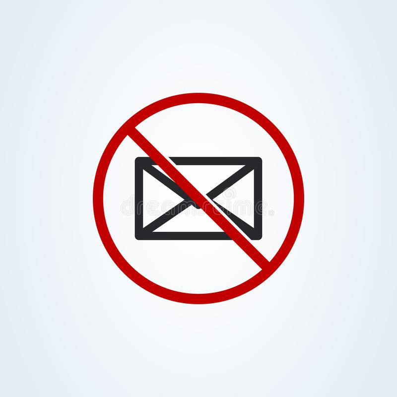 Forbidden mailing. Do not send message flat style. Vector illustration icon isolated on white background stock illustration