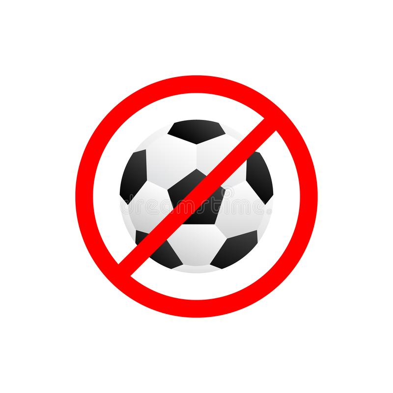 Forbidden no play football icon vector. Prohibited soccer game sign. Warning, restriction, caution, attention, For your web site d. Esign, logo, app, UI. Vector stock illustration