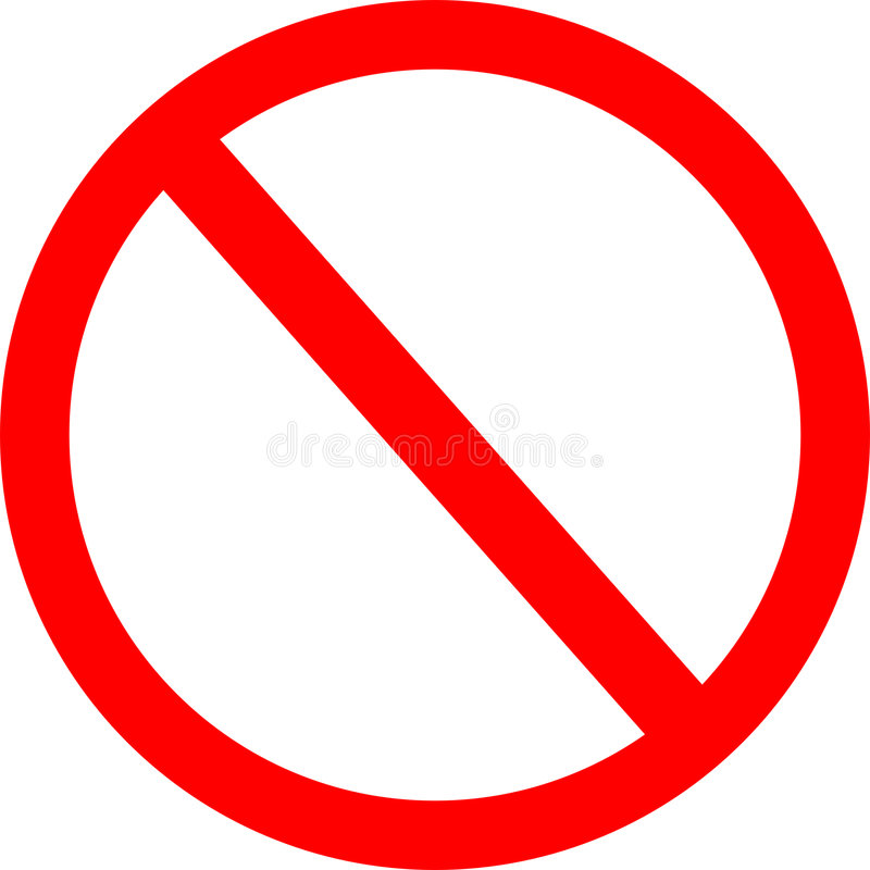 Forbidden Sign. Red 'no' sign isolated on white stock illustration