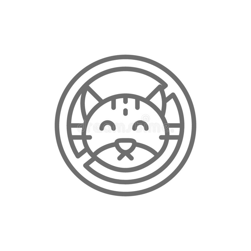 Forbidden sign with cat, no animal, wool pets allergy line icon. vector illustration