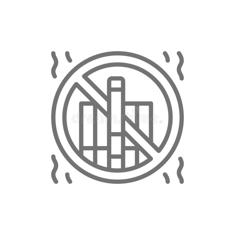 Forbidden sign with cigarettes, no smoking line icon. stock illustration
