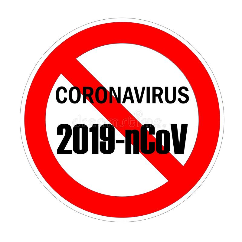 Forbidden sign with coronavirus and 2019-nCoV text in black color royalty free illustration