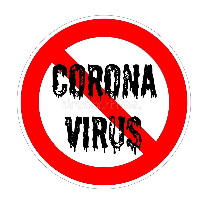 Forbidden sign with coronavirus text in black color stock illustration