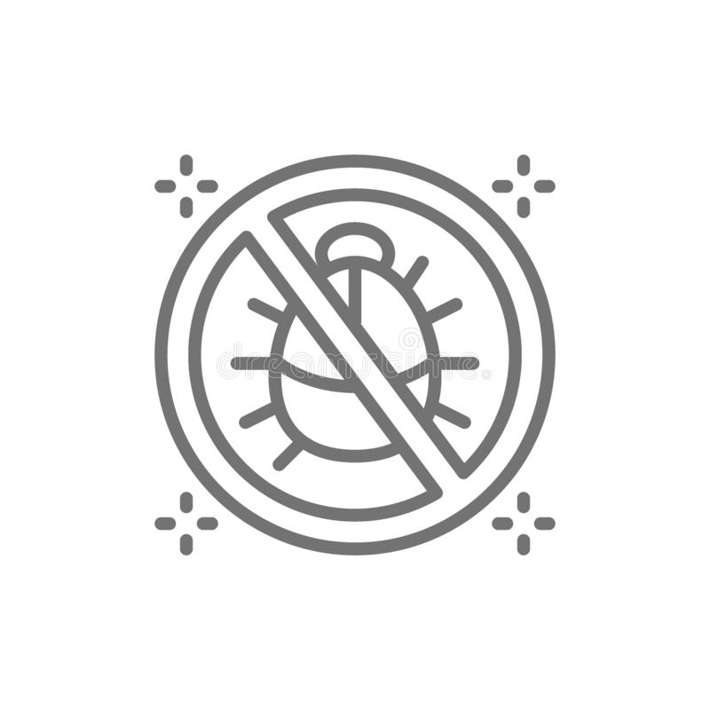 Forbidden sign with dust mites, no dust, anti allergic materials line icon. vector illustration