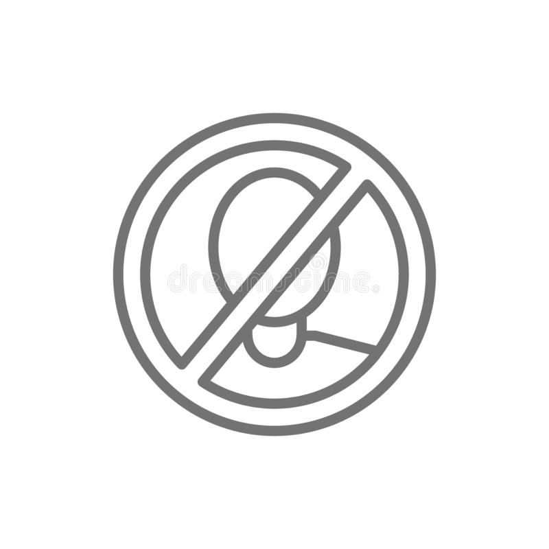Forbidden sign with man face, no verification, no scanning line icon. vector illustration