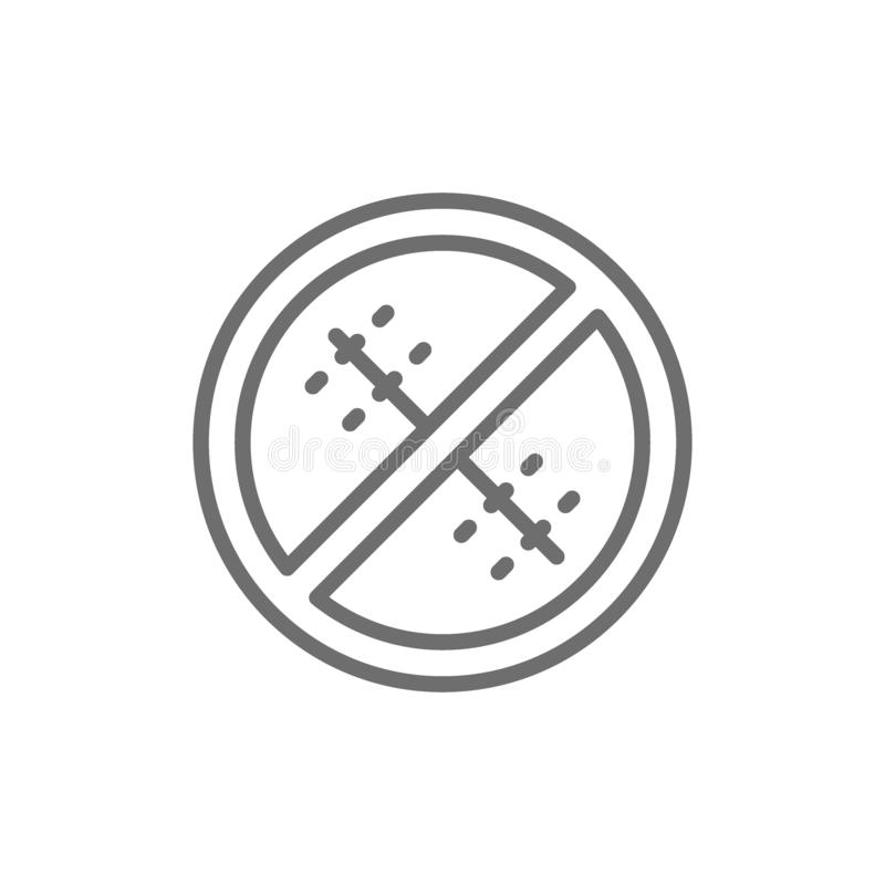 Forbidden sign with a medical seam, without surgical sutures line icon. stock illustration