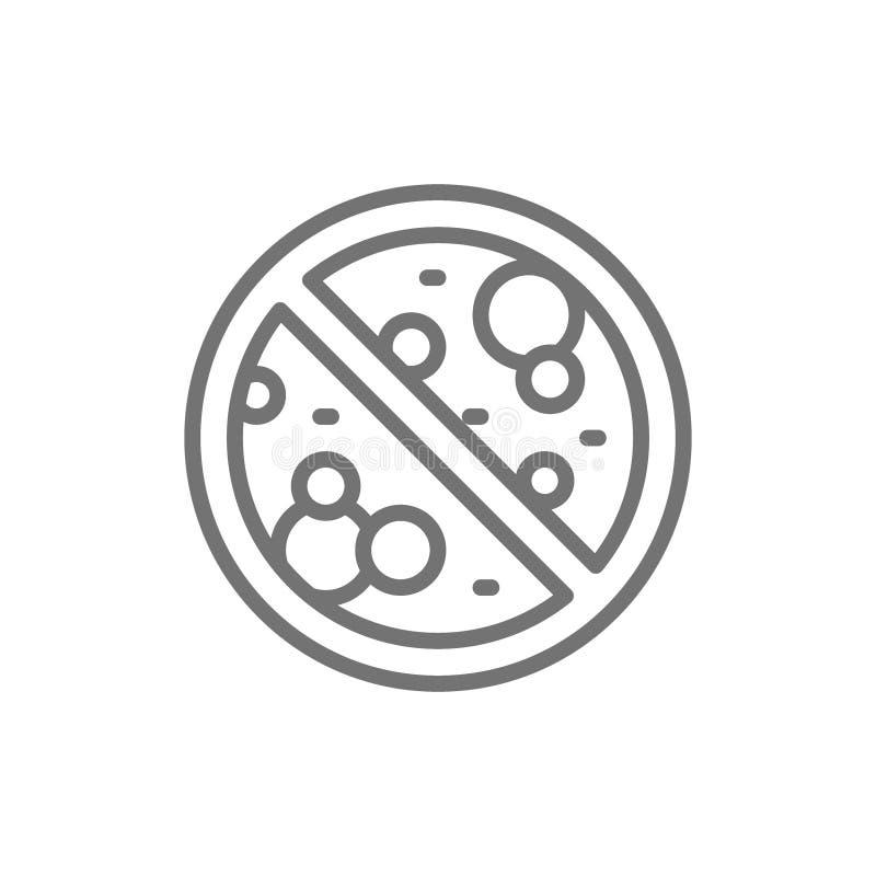Forbidden sign with microbes, antibacterial, antivirus, no bacteria line icon. Vector forbidden sign with microbes, antibacterial, antivirus, no bacteria line stock illustration