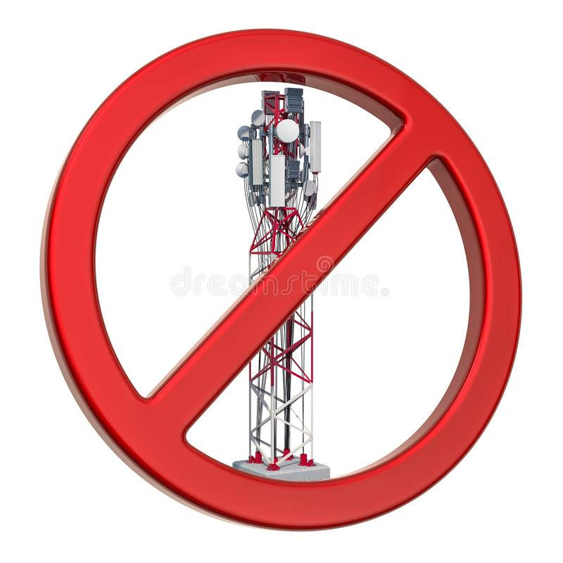 Forbidden sign with mobile tower. 3D rendering. Isolated on white background royalty free illustration