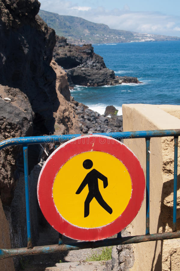 Download Forbidden Sign At The Road To Ocean Stock Photo - Image of tenerife, emblem: 25634320