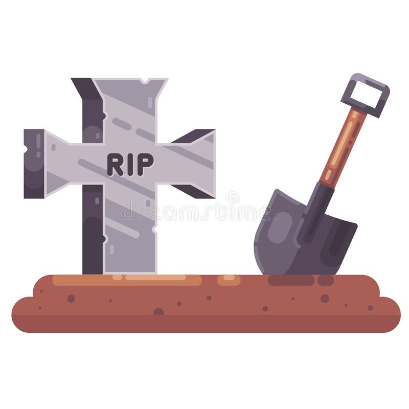 Old grave with a cross and a shovel. dig a hole. Business for a cemetery. funeral procession. flat illustration royalty free illustration