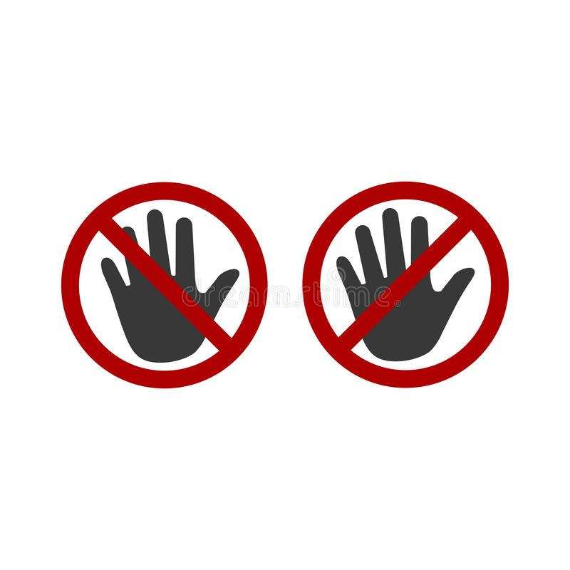 Forbidden sign stop palm hand icon. No entry prohibition. Do not touch. Silhouette symbol. space. Vector isolated illustration. vector illustration