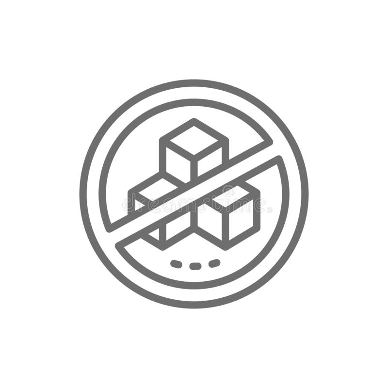 Forbidden sign with a sugar, no sweets line icon. vector illustration