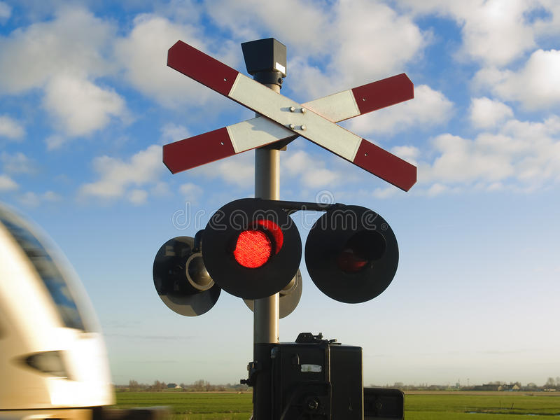 Forbidden to go! Train passing by. stock image