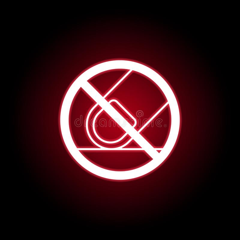 Forbidden touch finger icon in red neon style. can be used for web, logo, mobile app, UI, UX vector illustration