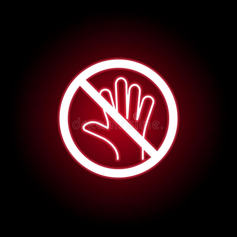 Forbidden touch icon in red neon style. Can be used for web, logo, mobile app, UI, UX vector illustration