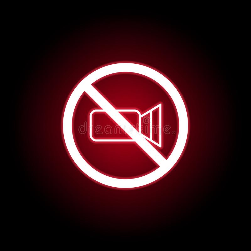 Forbidden video icon in red neon style. Can be used for web, logo, mobile app, UI, UX vector illustration