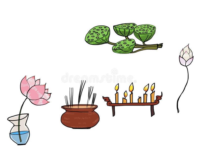 Forbuddha προτερημάτων καθορισμένο και σύνολο επιτραπέζιου διανύσματος βωμών απεικόνιση αποθεμάτων