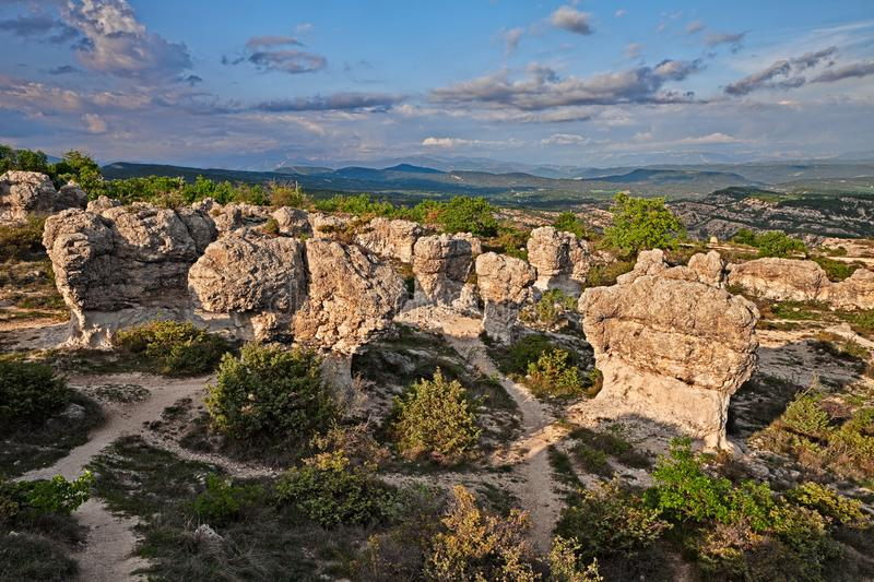 Forcalquier, Provence, France: Rochers des Mourres, strange geological formation. In a plateau of the Alpes-de-Haute-Provence royalty free stock image