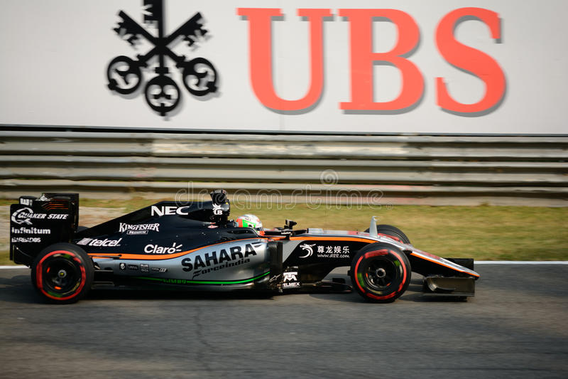 Force a fórmula 1 da Índia em Monza conduzido por Alfonso Celis Jr fotografia de stock