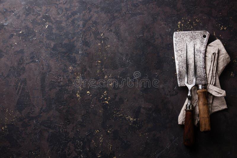 Forcella d'annata della carne e macellaio Cleaver immagini stock libere da diritti