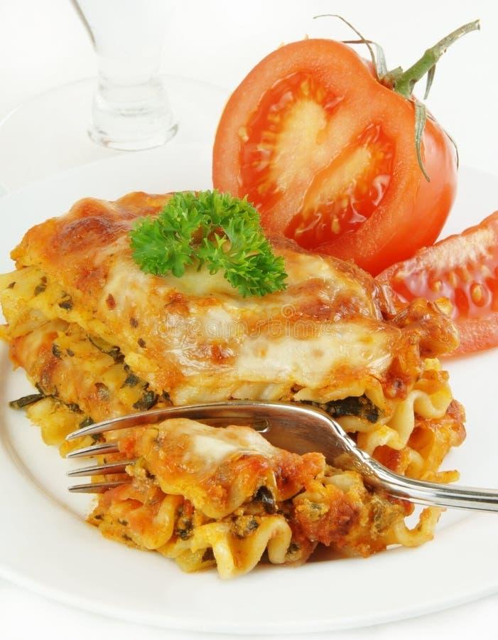 Forcella del Lasagna in pomodoro mezzo fotografia stock libera da diritti