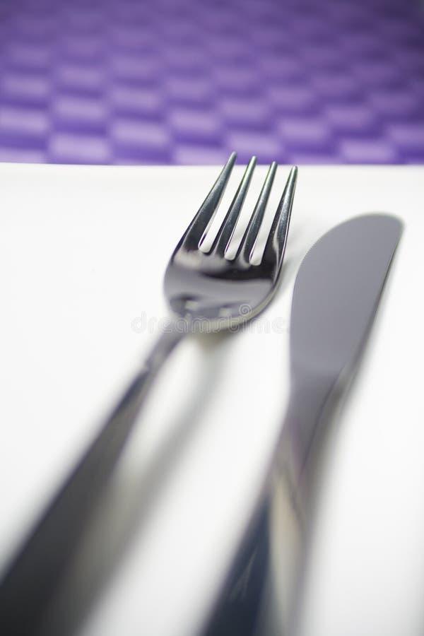 Forcella e lama del pranzo fotografie stock