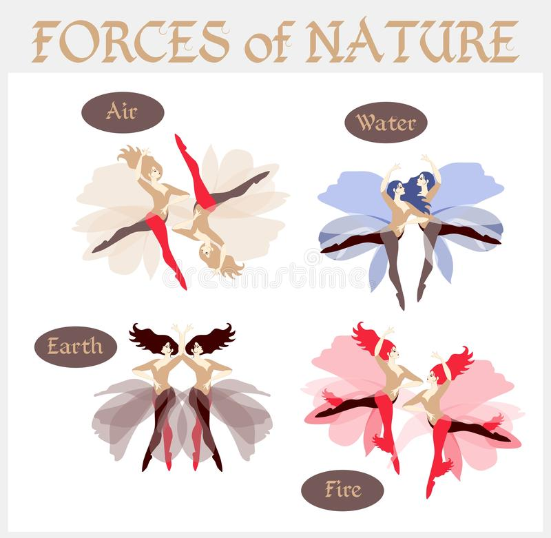 Forces of nature, depicted in the form of dancing girls. Four elements: fire, air, earth and water. Great collection in vector royalty free illustration