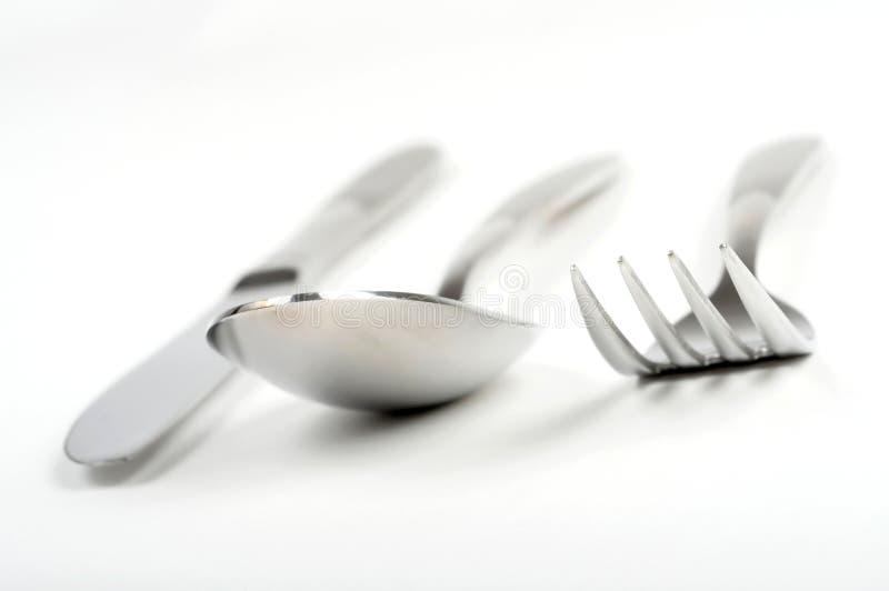 Forchetta, cucchiaio e lama fotografie stock libere da diritti