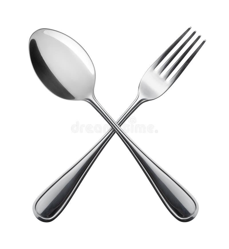 Forchetta e cucchiaio. fotografie stock libere da diritti