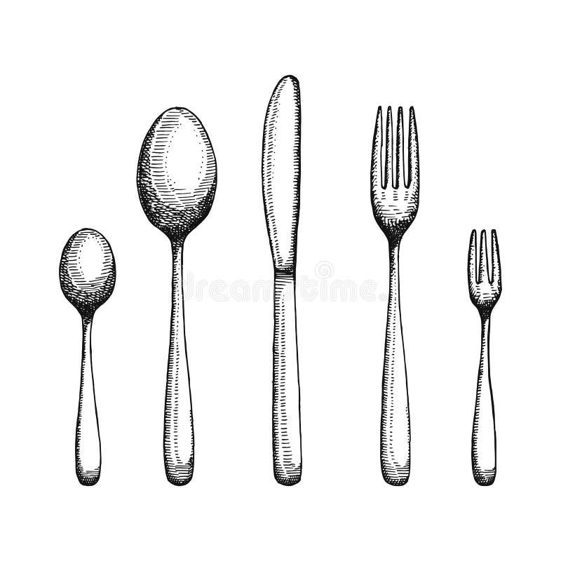 Forchetta e cucchiaio con un disegno del coltello Vettore della coltelleria illustrazione di stock