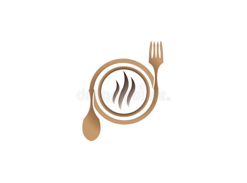 Forchetta e cucchiaio di legno con la piastra riscaldante per progettazione di logo royalty illustrazione gratis
