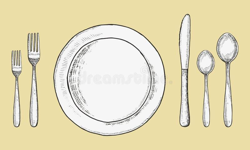 Forchette e cucchiai della coltelleria con il vettore dei piatti e dei coltelli Disegno della mano di schizzo Illustrazione royalty illustrazione gratis